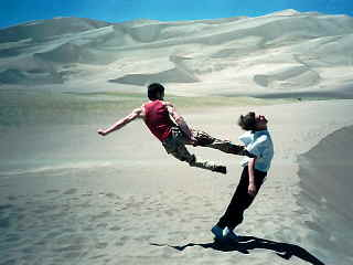 Mark's flying leap on the dunes