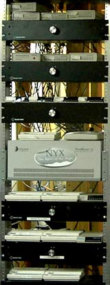 shelves of individual modems