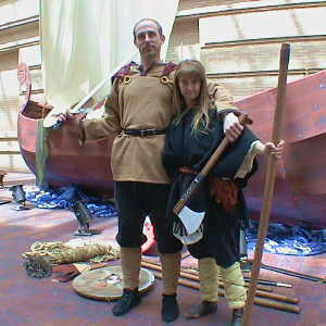 Samantha and Daryl at the Viking exhibit
